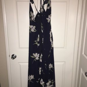 Lulu's Dresses - All Mine Navy Blue Floral Print HighLow Wrap Dress